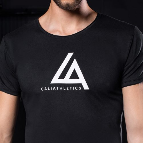 T-SHIRT SLIM FIT CALIATHLETICS czarny duże logo 2